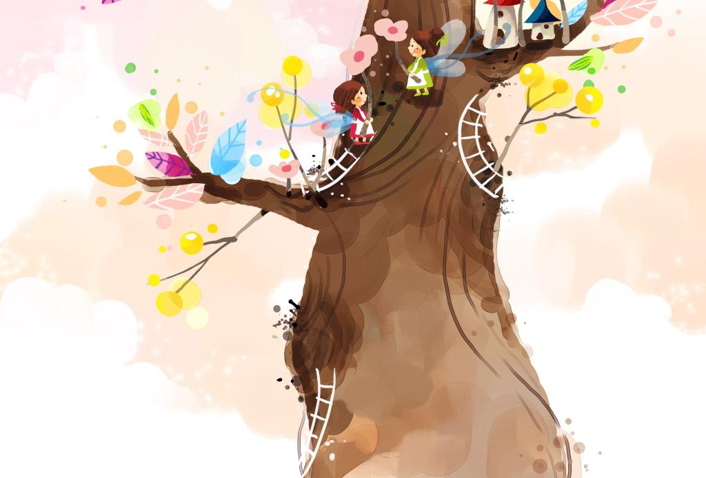 卡通趣味儿童彩色手绘大树云朵梯子房屋图