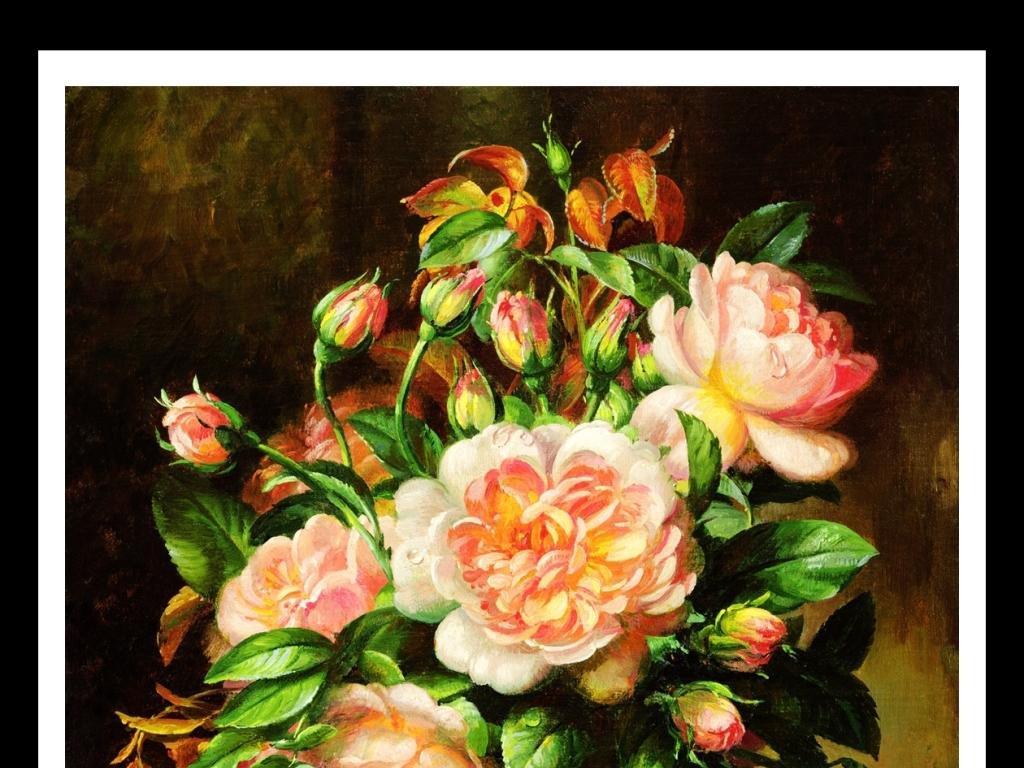手绘花朵静物写实油画背景墙