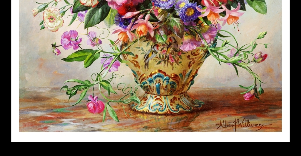 手绘写实花卉静物家居背景墙装饰画
