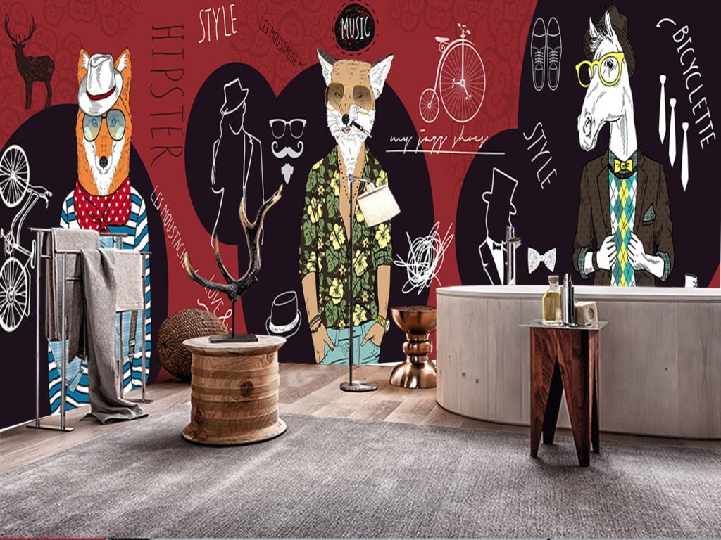 个性手绘抽象动物服装店咖啡厅装饰墙