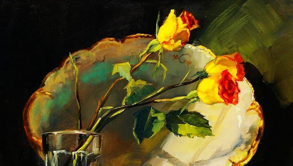 写实静物花卉手绘油画