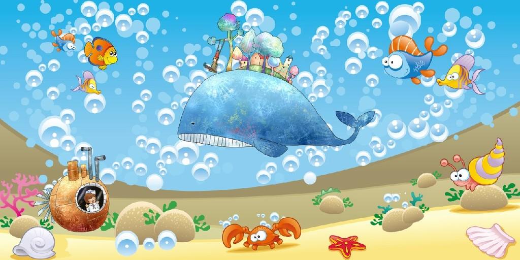 卡通小海豚背景墙图片设计素材_高清psd模板下载(46.图片