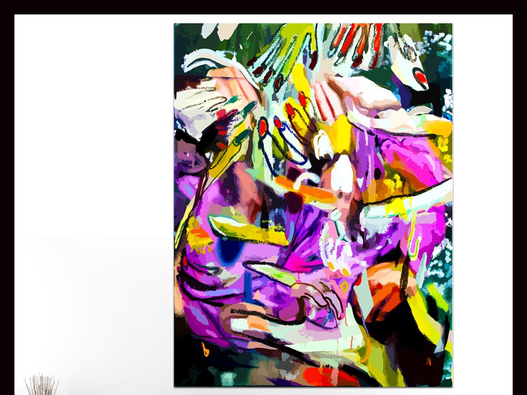 手绘抽象涂鸦插画背景墙