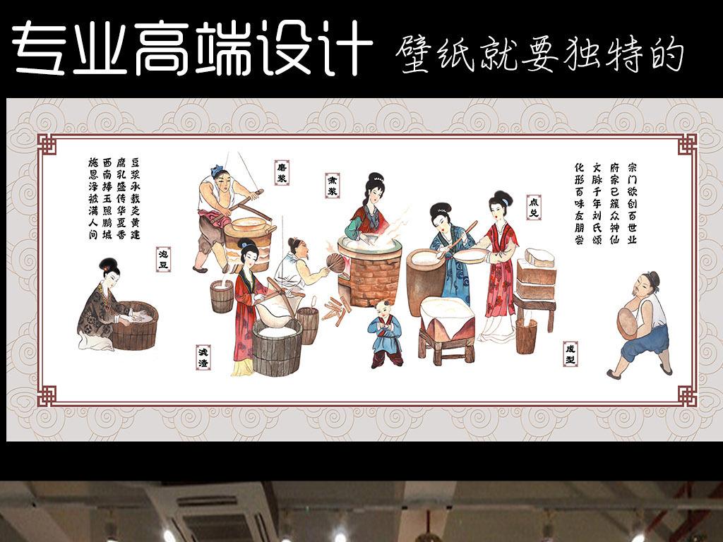 墙手绘人物涮火锅重庆老火锅面馆中式中式餐厅古代