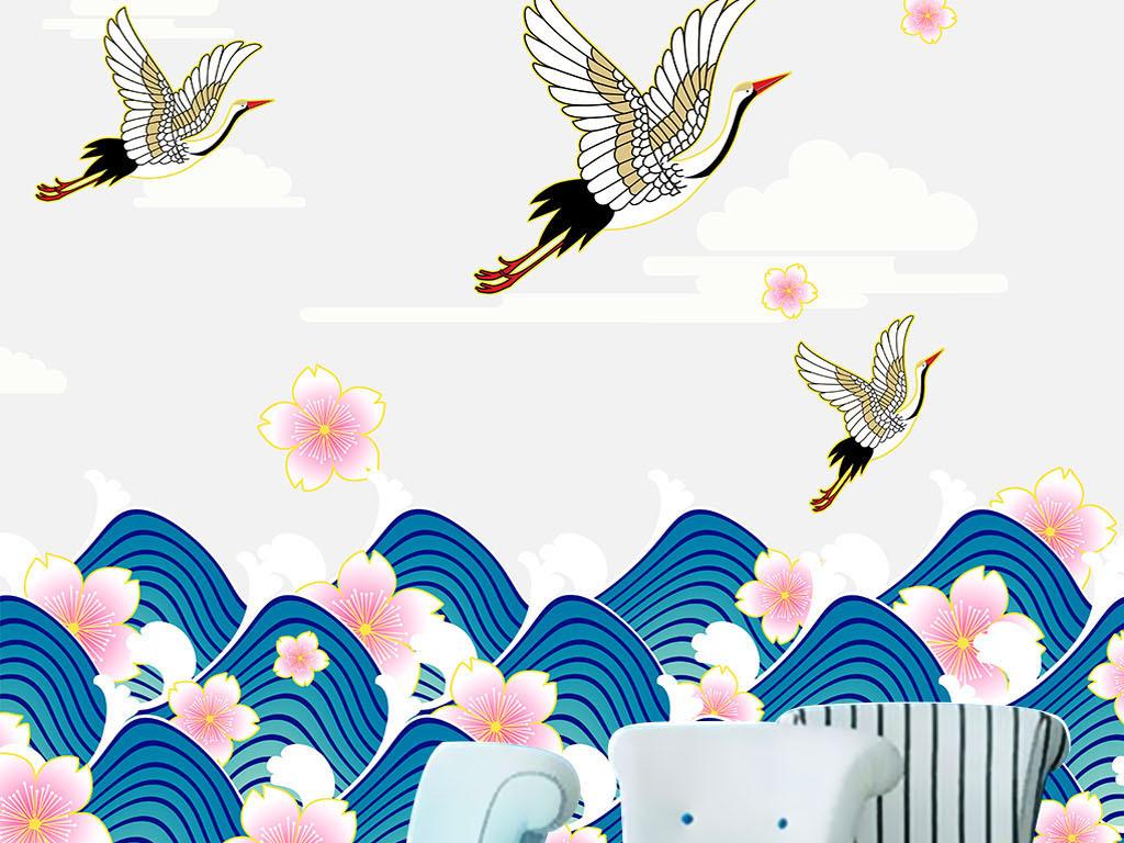 手绘日式樱花仙鹤海浪背景墙二方连续