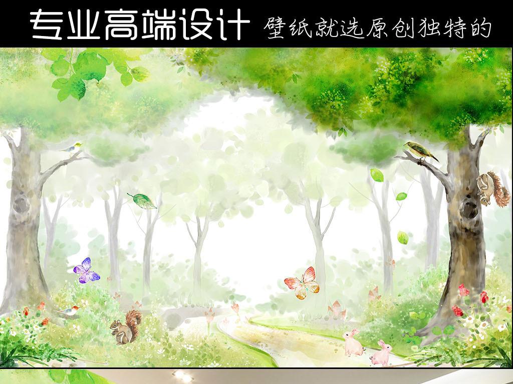 电视背景墙 儿童房背景墙 > psd手绘唯美梦幻水彩卡通森林插画背景墙