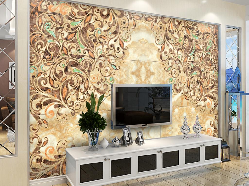 现代风格石材水刀拼花大理石背景墙壁画图片设计素材图片