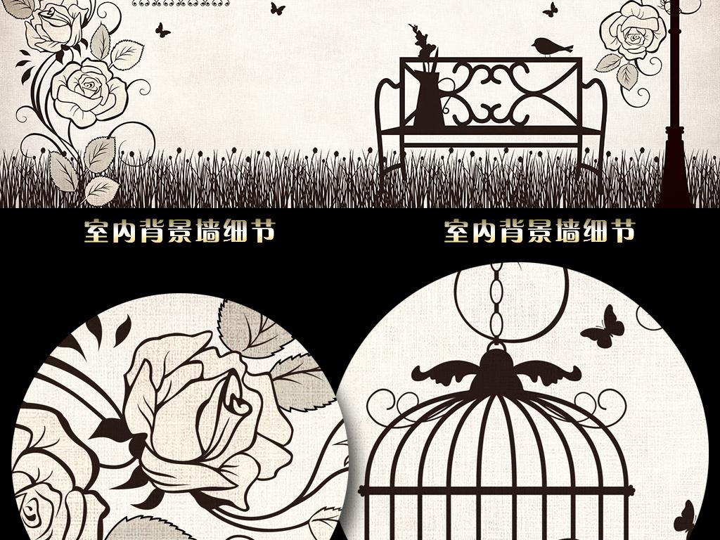 手绘蔷薇花藤复古背景墙