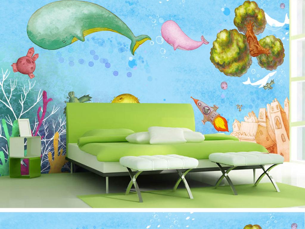 手绘梦幻海底世界鲸鱼电视背景墙