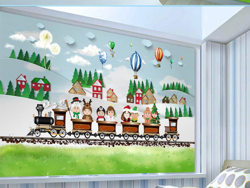 手绘可爱梦幻儿童房卡通背景墙壁画墙纸