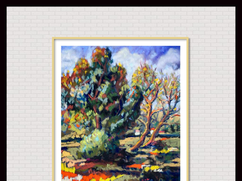 手绘复古油画风景
