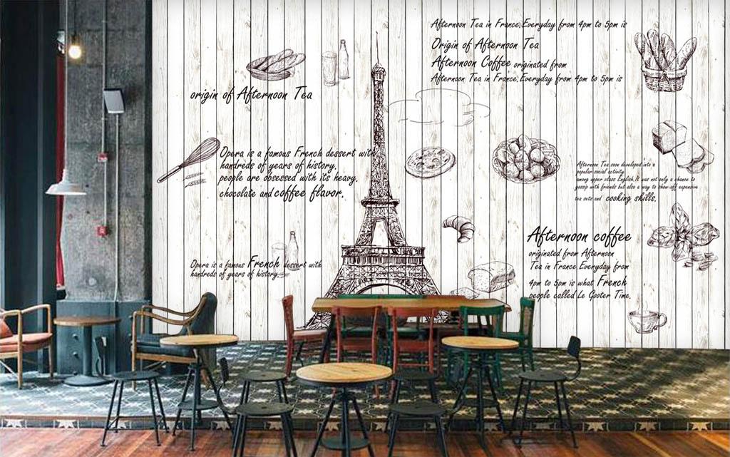 巴黎铁塔蛋糕店甜品店电视背景墙图片玻璃电视背景墙图片客厅电视背景