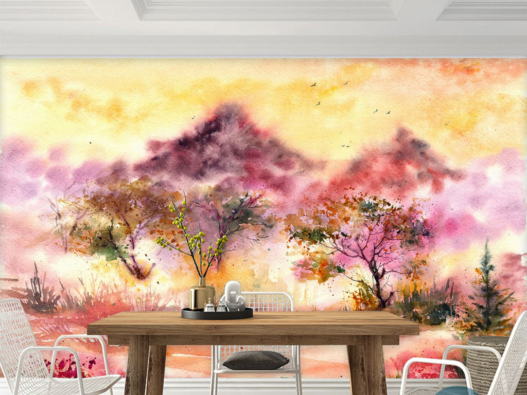 背景墙|装饰画 电视背景墙 手绘电视背景墙 > 夕阳火烧云晚霞树水彩画