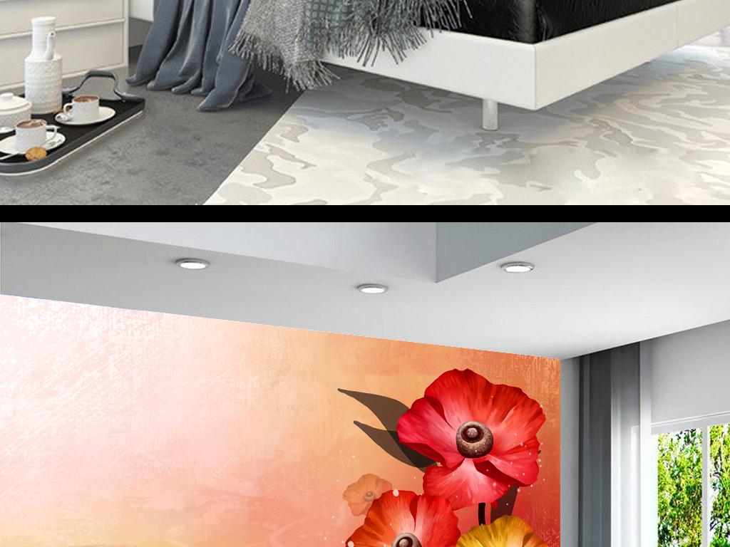 美式复古森系田园手绘花卉背景墙