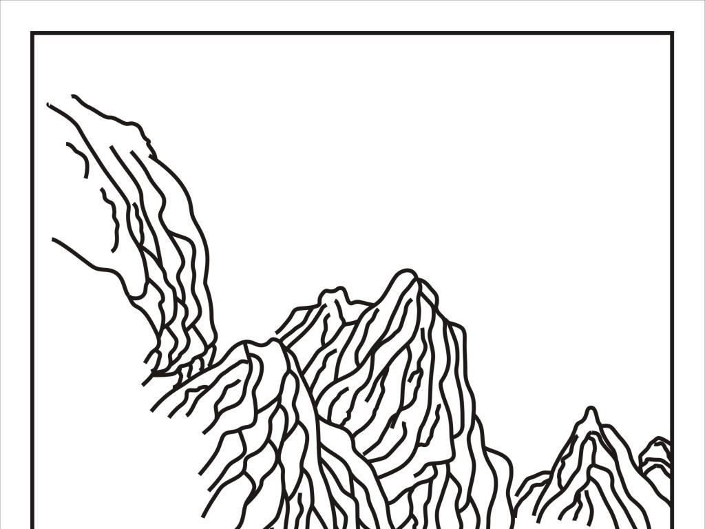 初级简单彩风景画_cdr)山水画风景房屋树艺术玻璃雕刻图彩雕图雕刻线条图电视背景墙玻璃