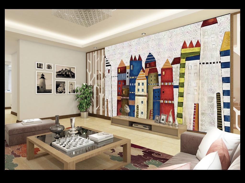电视背景墙 3d电视背景墙 > 欧式建筑卡通手绘古堡城堡地中海