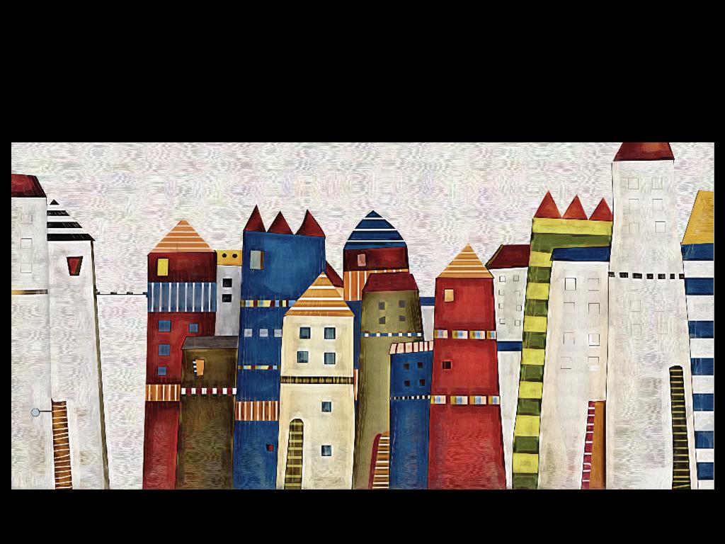 背景墙|装饰画 电视背景墙 3d电视背景墙 > 欧式建筑卡通手绘古堡城堡