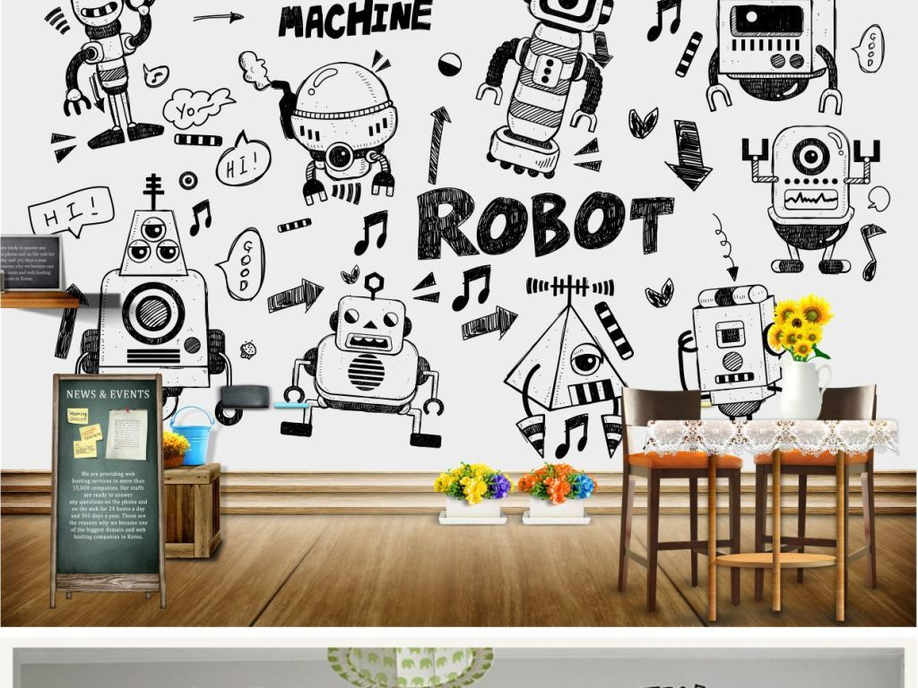 背景墙|装饰画 电视背景墙 手绘电视背景墙 > 手绘涂鸦机器人壁纸黑白