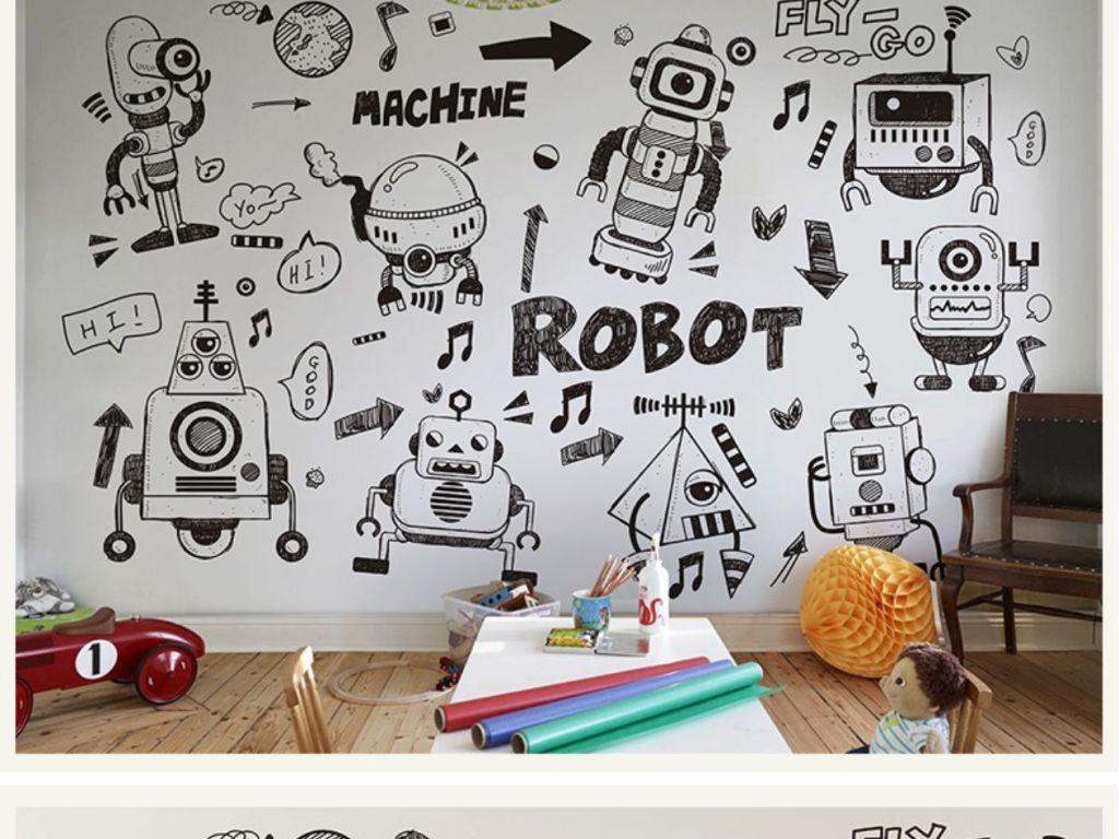 手绘涂鸦机器人壁纸黑白线稿