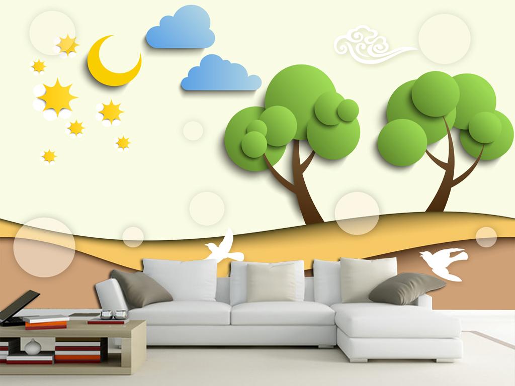 温馨儿童房手绘背景墙壁画(图片编号:15139903)_客厅
