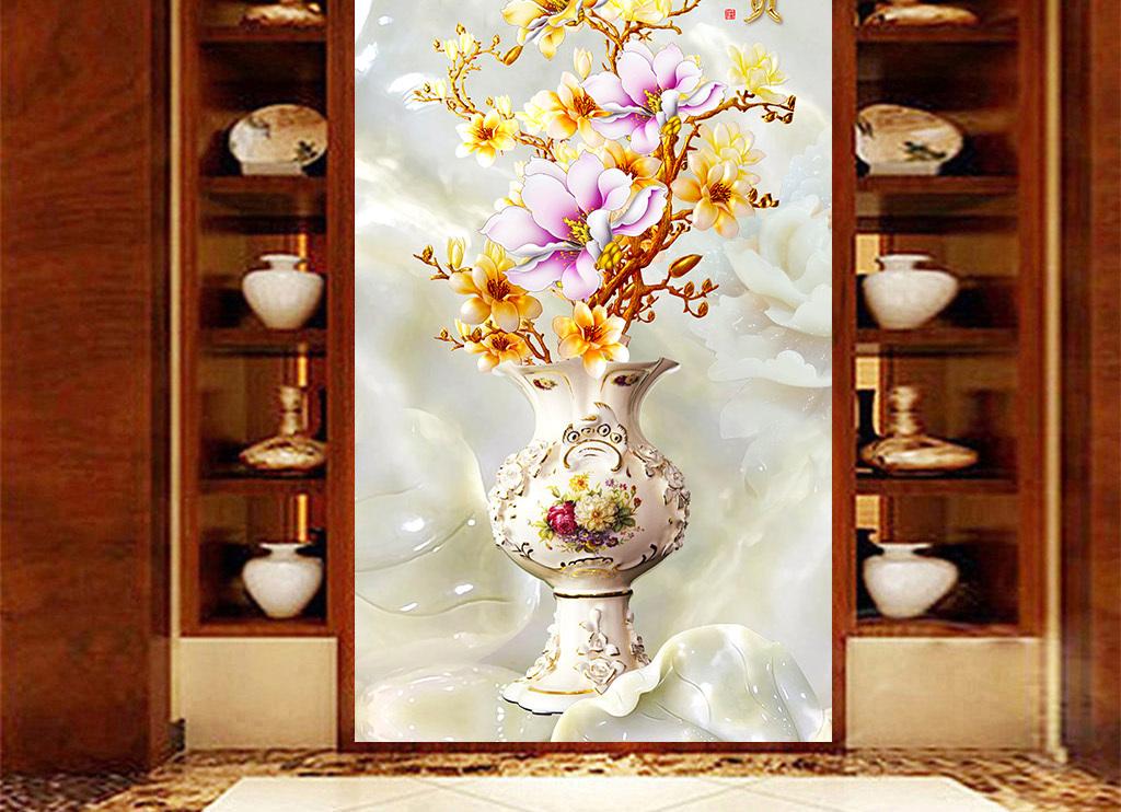 彩雕玉兰花花瓶玄关