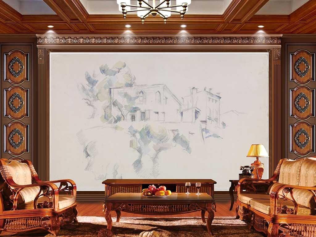 电视背景墙 现代简约电视背景墙 > 贵族白色花鸟素描手绘
