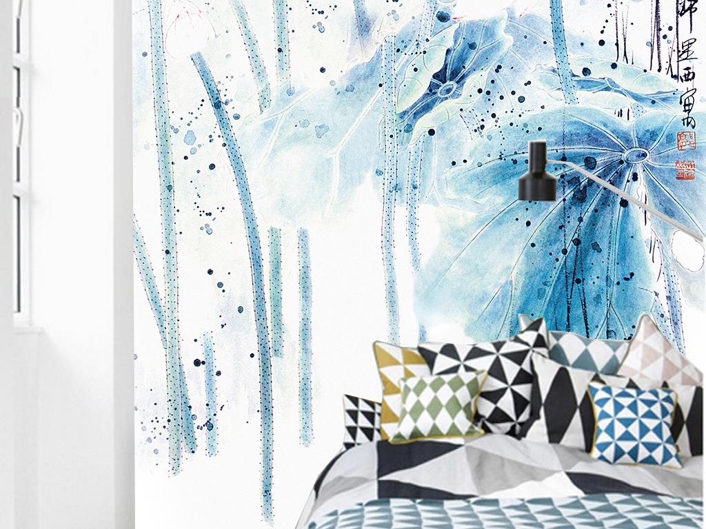 唯美意境手绘水墨荷花背景墙装饰画