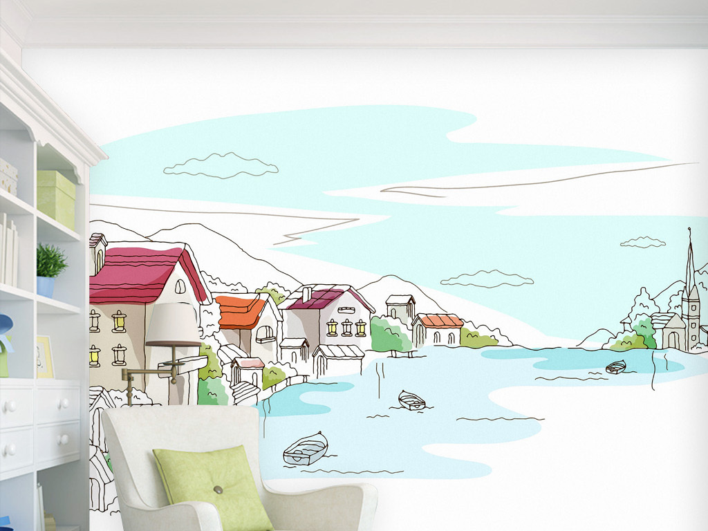 纸图画手绘唯美清新欧美法韩德英国式家居装修饰粘贴客厅