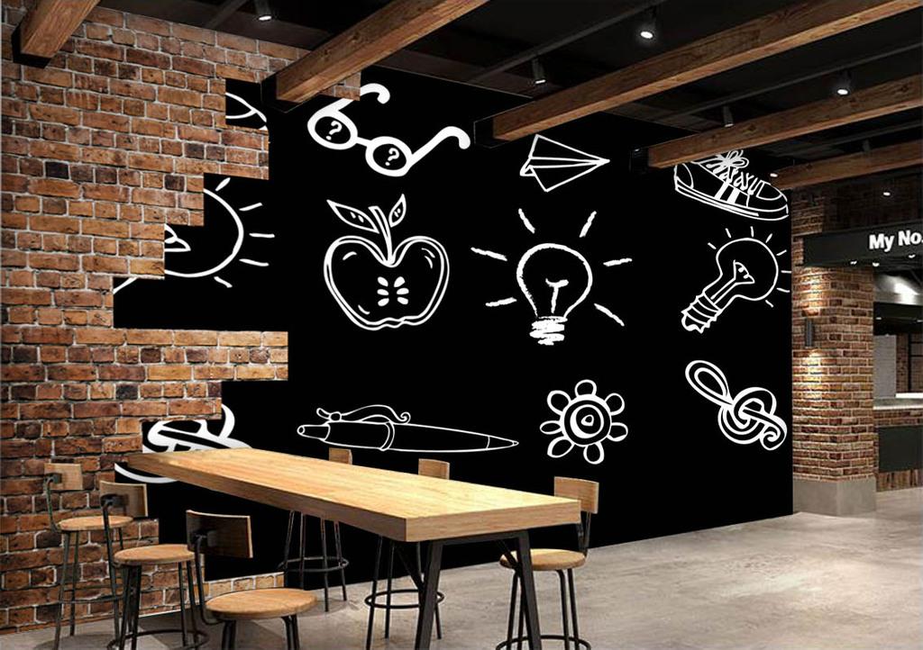 欧美粉笔画酒吧餐厅背景墙效果图(图片编号:15144065)