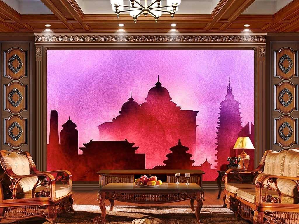 背景墙|装饰画 电视背景墙 电视背景墙 > 红色雾气中的宝塔水粉皇宫