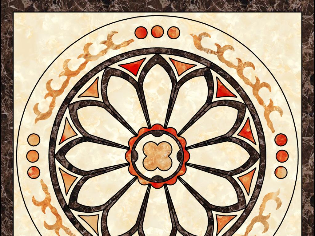 中式石材拼花图案瓷砖沙发背景墙拼图图片