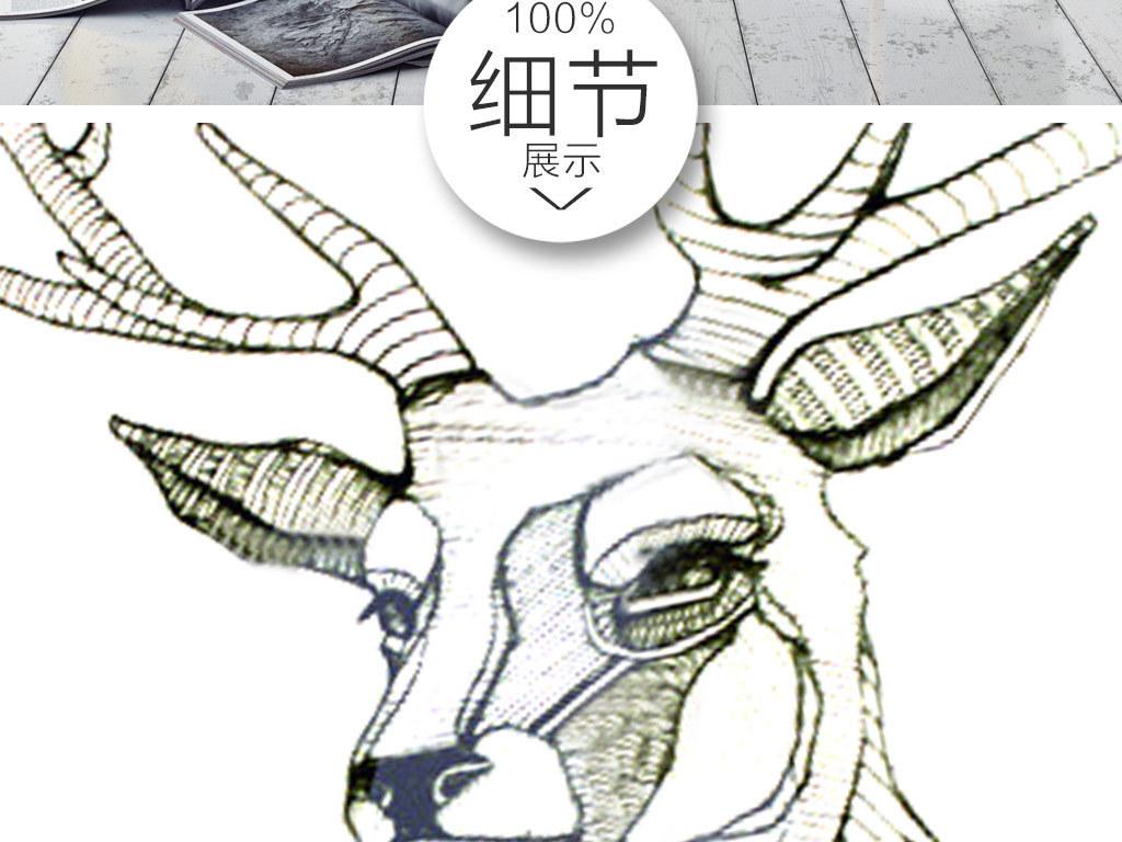 欧简约创意黑白麋鹿无框画(图片编号:15145977)_动物