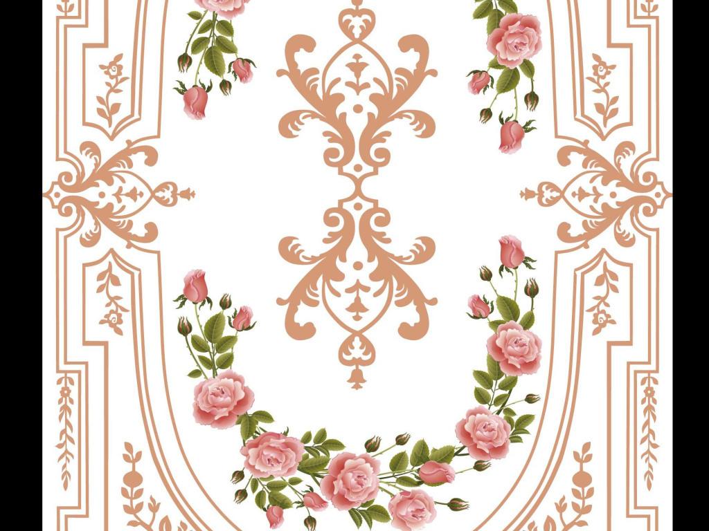欧式花纹精雕边框壁画地砖素材电视背景墙图片玻璃