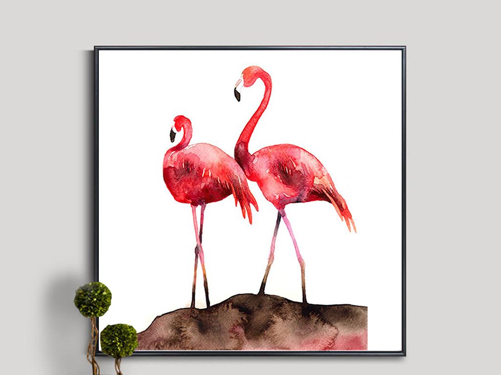 优雅火烈鸟有框无框装饰画