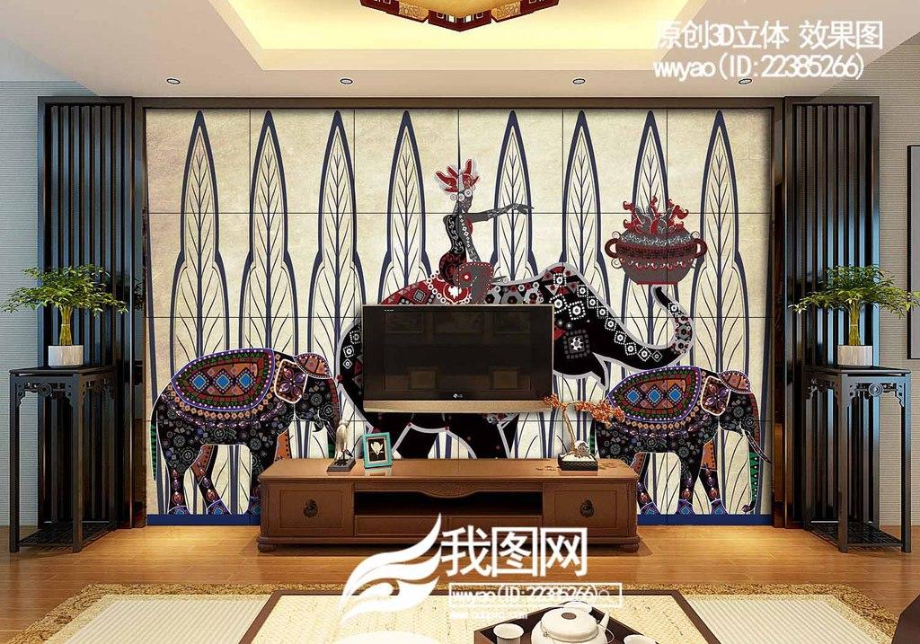 怀旧民族风情图案手绘电视背景墙