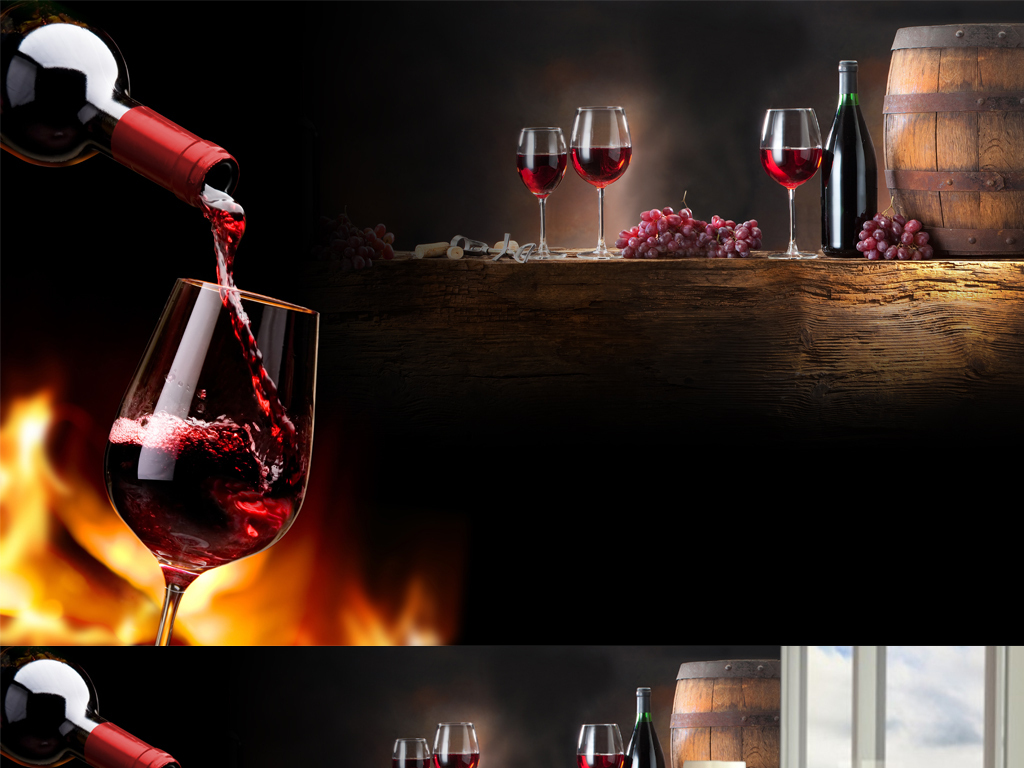 高脚杯红酒杯酒瓶木桶葡萄酒背景墙红酒