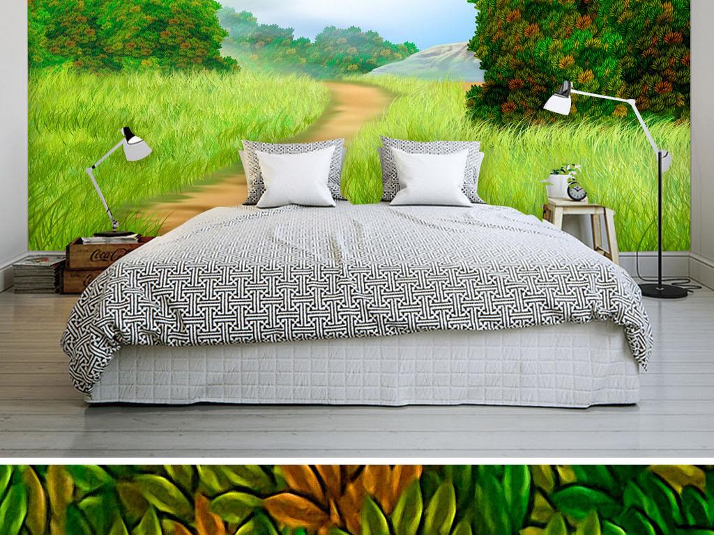 手绘唯美清新欧美法韩德英国式家居装修饰粘贴客厅卧室小路小径林间