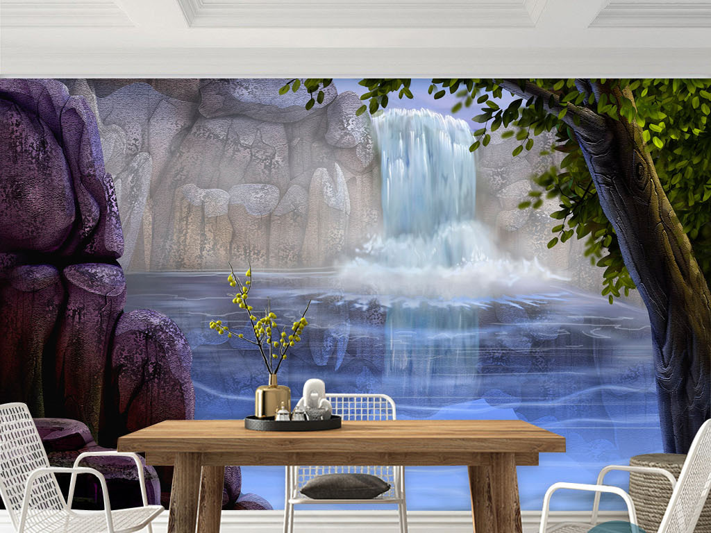 瀑布深潭欧美手绘风景画现代客厅电视背景墙