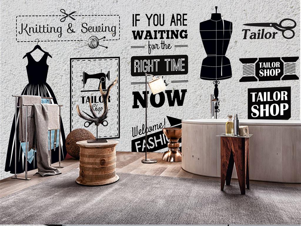 复古砖墙服装店形象墙背景装饰墙图片