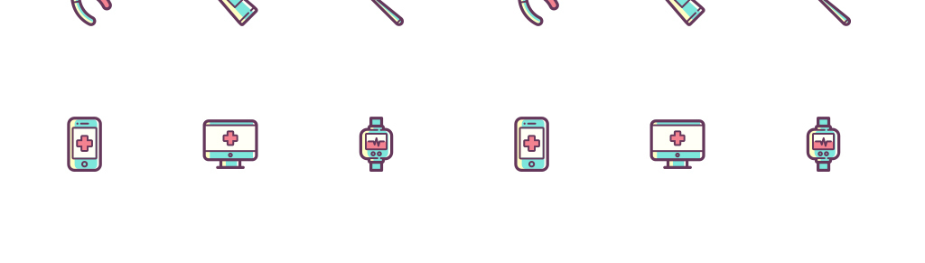 可爱的卡通手绘医疗图标矢量素材