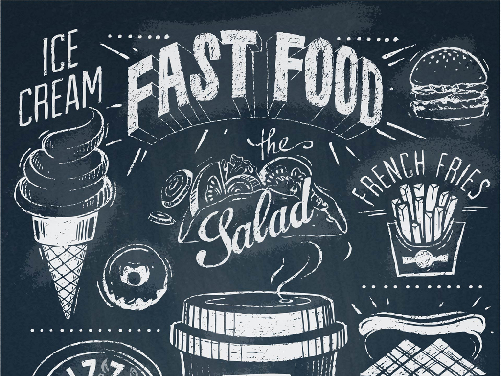 背景墙|装饰画 壁画 手绘壁画 > 快餐标志复古烘焙图案标志  版权图片