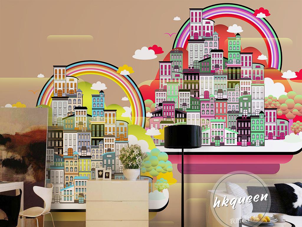 儿童手绘生活小区绿化环保彩虹云彩背景墙