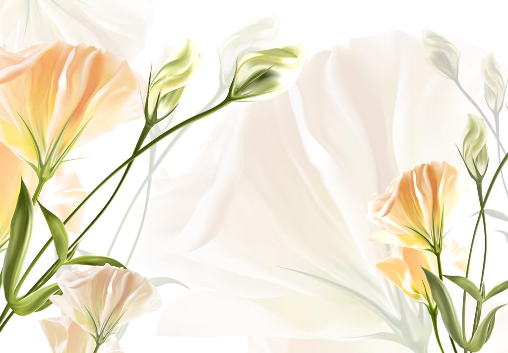 手绘百合花康乃馨花朵背景墙