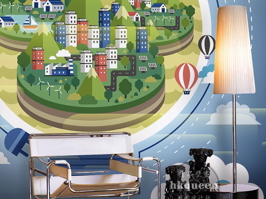 背景墙|装饰画 电视背景墙 儿童房背景墙 > 创意电灯泡绿色环保手绘