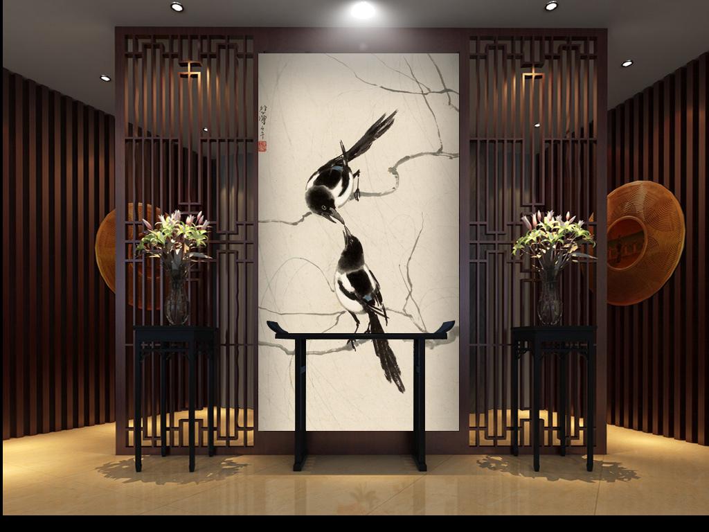 设计作品简介: 超高清手绘古典新中式走廊玄关过道壁画 位图, rgb格式