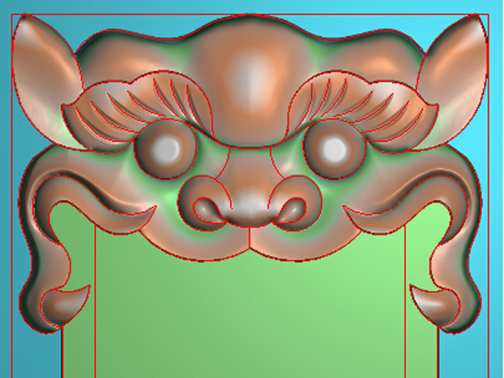 虎头令牌兽头双面精雕浮雕灰度图