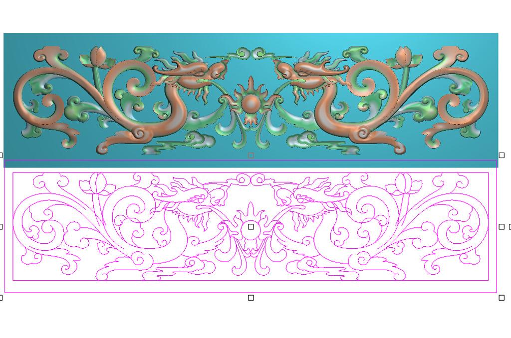 双龙戏珠草龙横板精雕浮雕灰度图