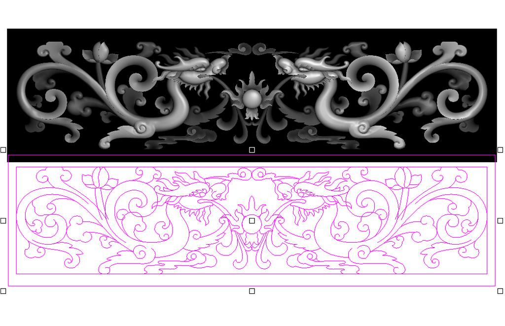 双龙戏珠草龙横板精雕浮雕灰度图高清图片下载 图片编号15156751 雕