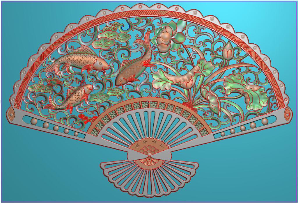 鱼戏莲间荷花鲤鱼扇子精雕浮雕灰度图