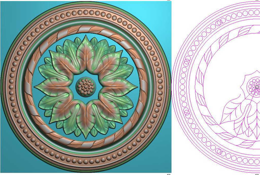 圆花环西洋花圆形精雕浮雕灰度图